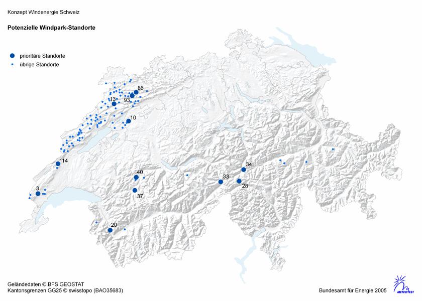 Potentielle Standorte Windkraftanlagen